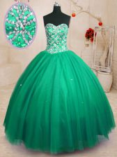 Floor Length Lace Up Quinceanera Gown Dark Green for Military Ball and Sweet 16 and Quinceanera with Beading