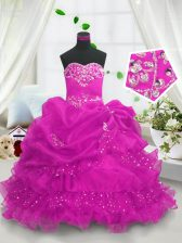 Admirable Sleeveless Lace Up Floor Length Beading and Ruffled Layers and Pick Ups Little Girl Pageant Gowns