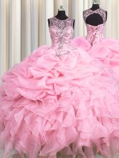 See Through Baby Pink Organza Lace Up Scoop Sleeveless Floor Length Sweet 16 Dress Beading and Ruffles and Pick Ups