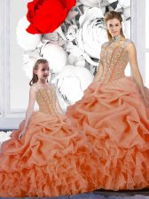 Straps Orange Sleeveless Floor Length Beading and Ruffles and Pick Ups Lace Up 15 Quinceanera Dress