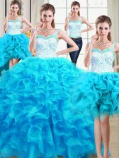 Four Piece Straps Baby Blue Sleeveless Organza Lace Up Ball Gown Prom Dress for Military Ball and Sweet 16 and Quinceanera