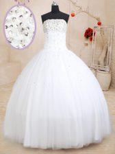 Modern White Tulle Lace Up Sweet 16 Dresses Sleeveless Floor Length Beading