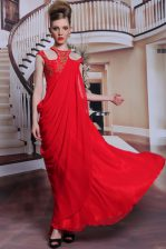 Scoop Red Sleeveless Beading and Appliques Floor Length