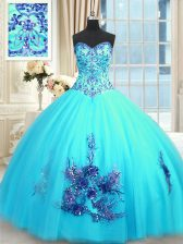 Beading and Appliques and Embroidery Quince Ball Gowns Baby Blue Lace Up Sleeveless Floor Length