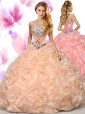 Pretty Peach Sweetheart Lace Up Beading and Pick Ups Sweet 16 Dresses Sleeveless