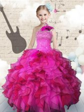 Admirable One Shoulder Floor Length Ball Gowns Sleeveless Hot Pink Little Girl Pageant Dress Lace Up