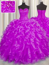 Sweetheart Sleeveless Organza Quinceanera Dress Beading and Ruffles Lace Up