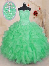 Delicate Green Sweetheart Lace Up Beading and Ruffles Quinceanera Gown Sleeveless