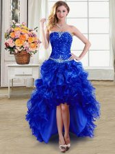 Royal Blue Lace Up Strapless Beading and Ruffles Prom Evening Gown Organza Sleeveless