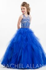 Latest Ball Gowns Little Girls Pageant Dress Wholesale Royal Blue Halter Top Tulle Sleeveless Floor Length Zipper