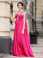 One Shoulder Sleeveless Brush Train Zipper Evening Dress Hot Pink Chiffon