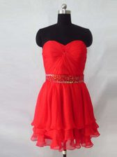 Great Red Homecoming Dress Prom and Party with Beading Sweetheart Sleeveless Zipper