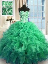 Best Sweetheart Sleeveless Sweet 16 Quinceanera Dress Floor Length Beading and Ruffles Turquoise Organza