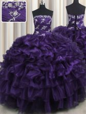 Custom Fit Purple Strapless Lace Up Appliques and Ruffles and Ruffled Layers 15 Quinceanera Dress Sleeveless