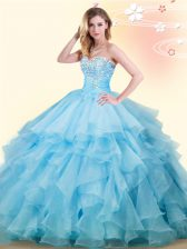 Baby Blue Ball Gowns Organza Sweetheart Sleeveless Beading and Ruffles Floor Length Lace Up Ball Gown Prom Dress