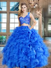 Top Selling Blue V-neck Zipper Lace and Ruffles Ball Gown Prom Dress Sleeveless
