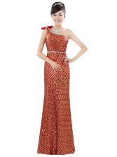 One Shoulder Sleeveless Sequined Floor Length Zipper Evening Dress in Orange with Beading and Sequins