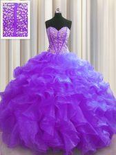 New Arrival Visible Boning Floor Length Purple Quince Ball Gowns Sweetheart Sleeveless Lace Up