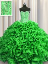Affordable Visible Boning Sleeveless Lace Up Floor Length Beading and Ruffles Sweet 16 Dress