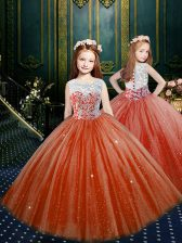 Pretty Scoop Appliques Little Girls Pageant Gowns Orange Red Clasp Handle Sleeveless Floor Length