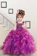Hot Sale Mermaid Fuchsia Straps Neckline Beading and Ruffles Kids Pageant Dress Sleeveless Lace Up