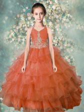 Fashion Halter Top Sleeveless Little Girls Pageant Dress Floor Length Beading and Ruffled Layers Orange Organza