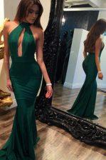 Edgy Mermaid Halter Top Green Backless Ruching Sleeveless Sweep Train