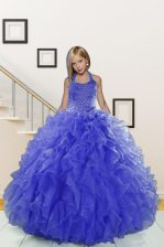 Halter Top Sleeveless Organza Floor Length Lace Up Little Girls Pageant Gowns in Blue with Beading and Ruffles