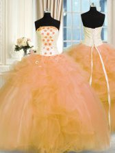 Shining Floor Length Gold Ball Gown Prom Dress Strapless Sleeveless Lace Up