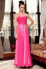 Simple Scoop Hot Pink Chiffon Zipper Evening Dress Sleeveless Ankle Length Ruching