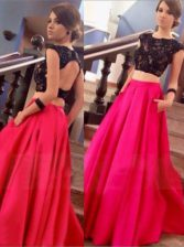 Stylish Scoop Red A-line Lace Prom Gown Backless Satin Cap Sleeves Floor Length