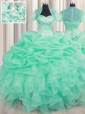 Cheap Sleeveless Beading and Ruffles and Pick Ups Lace Up 15 Quinceanera Dress