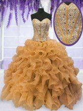 Floor Length Ball Gowns Sleeveless Gold Vestidos de Quinceanera Lace Up