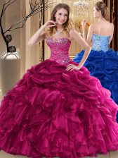 Shining Beading and Pick Ups Sweet 16 Dress Fuchsia Lace Up Sleeveless Floor Length