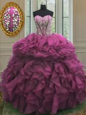 Best Selling Fuchsia Ball Gowns Sweetheart Sleeveless Organza Floor Length Lace Up Beading and Ruffles Sweet 16 Quinceanera Dress