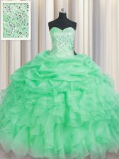 Apple Green Organza Lace Up Sweetheart Sleeveless Floor Length Ball Gown Prom Dress Beading and Ruffles