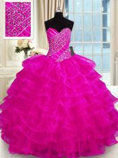 Adorable Organza Sweetheart Sleeveless Lace Up Beading and Ruffled Layers Sweet 16 Dresses in Fuchsia
