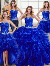 Four Piece Royal Blue Lace Up Strapless Beading and Ruffles Sweet 16 Dress Organza Sleeveless