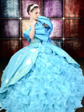 Pretty Baby Blue Ball Gowns Organza and Taffeta Sweetheart Sleeveless Embroidery and Ruffles Floor Length Lace Up Sweet 16 Quinceanera Dress