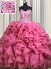 Visible Boning Bling-bling Rose Pink Sleeveless With Train Beading and Ruffles Lace Up Vestidos de Quinceanera