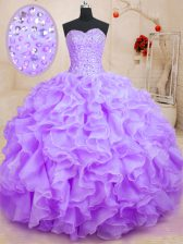 Wonderful Ball Gowns Quinceanera Gown Lavender Sweetheart Organza Sleeveless Floor Length Lace Up