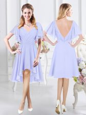 Lavender Short Sleeves Ruching High Low Dama Dress