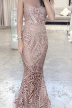 Vintage Mermaid Lace Scoop Sleeveless Zipper Lace Prom Dress in Pink