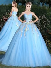 Cheap Lace Up Quinceanera Gowns Blue for Military Ball and Sweet 16 and Quinceanera with Appliques Brush Train