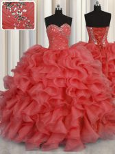 Customized Floor Length Coral Red Quinceanera Dress Organza Sleeveless Beading and Ruffles