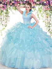 Baby Blue High-neck Neckline Beading and Ruffled Layers Sweet 16 Dress Sleeveless Backless