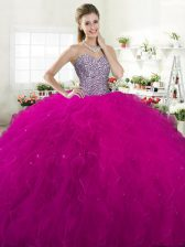 Traditional Fuchsia Sleeveless Tulle Lace Up Sweet 16 Dresses for Military Ball and Sweet 16 and Quinceanera