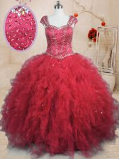 Red Quinceanera Dresses Military Ball and Sweet 16 and Quinceanera with Beading and Ruffles Square Cap Sleeves Lace Up