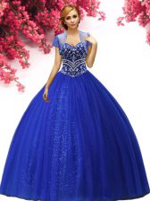 Popular Sleeveless Floor Length Beading Lace Up Quinceanera Dress with Royal Blue