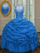 Super Straps Blue Taffeta Lace Up Quinceanera Dress Sleeveless Floor Length Beading and Pick Ups